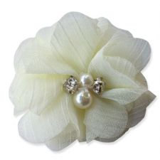 5cm Pearl Diamante CREAM Fabric Flower Applique